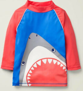 MINI BODEN BOYS RASH VEST SURF SWIM SUN PROTECTION TOP AGE 3-4 SHARK / BRAND NEW