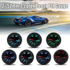 2'' 52mm 7 Color LED Mechanical Turbo Boost PSI Pressure Vacuum Gauge Meter 12V