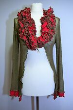 Loose Cobweb Knit Shrug Jacket Ruffle Collar Quirky Pixi Mori Girl Top 12 S