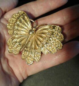 """Vintage Signed """"ART"""" Enamel Butterfly Brooch Gold Tone"""