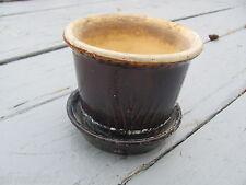 "Antique Bennington Pottery Stoneware Cattail Planter Small 4"" Albany Slip"