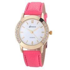 Ladies Fashion Geneva Quartz Gold and Crystal Hot Pink Band Wrist Watch.(Aussie)