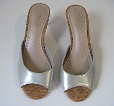 Charles By Charles David Silver Patent Leather Peep-Toe Open Heels Size 6, NEW!