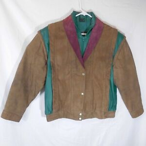 Woman's La Covina Suede Leather Jacket Size XL Fully Lined Zipper & Snaps