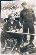 1952 Helsinki Olympic Pole Vault US Don Laz and Japan Bunkich Sawada Press Photo