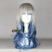 Lolita Long Curly 60cm Grey Mixed Blue Anime Cosplay Party Hair Wig