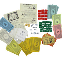 Vintage 1950s MONOPOLY Replacement Game Pieces Money Cards Dice Metal Tokens