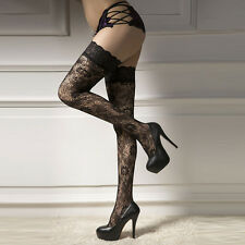 Lady Black Lace Hold Up Stockings Hosiery Long Socks Over Knee Thigh High Tights