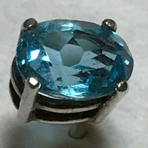 Tie Pin  Genuine Topaz   Beautiful Rich Blue Large  Oval Stone  8 x 6 mm