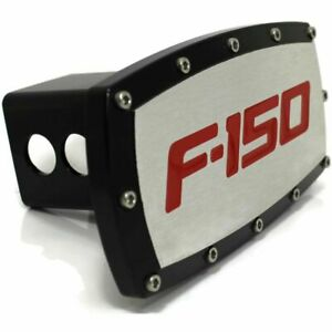 "Ford F-150 Red Billet Aluminum 2"" Hitch Cover Plug Engraved Black Powder Coated"