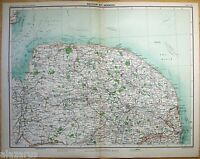 Original 1898 Map of The Norwich Region of England by J. Bartholomew, Antique