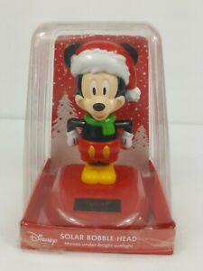 "DISNEY MICKEY MOUSE SOLAR POWERED BOBBLE HEAD 5"" SANTA SUIT FIGUIRINE *NIB*"