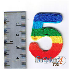 RAINBOW NUMBER 5 FIVE NEW ROCK BIKER LOGO SEW APPLIQUE EMBROIDERED IRON ON PATCH