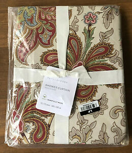 """NEW Pottery Barn CHARLIE PAISLEY Organic Cotton Shower Curtain  72 x 72"""" RED"""
