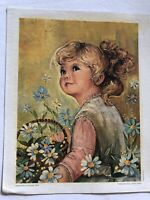 Vintage Nardi Canvas Offset Lithograph of Little Girl - Printed in Italy