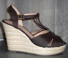 AMERICAN EAGLE Platform Espadrille T-Strap Wedges Sandals Heels Brown Canvas 8