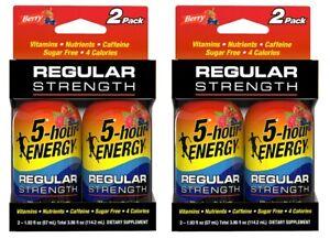 Lot of 2 5-Hour Energy Regular Strength Berry Shot Drink 2 Pack = 4 Total 12/21