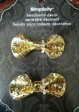 Simplicity 2 pc gold glitter w/sequin bows headband accents