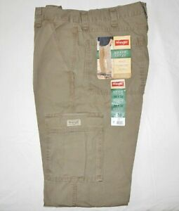 Mens Wrangler Rip-Stop Cotton Cargo Pant Relaxed Fit Tech Pocket Khaki ALL SIZES