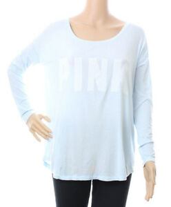 Victorias Secret PINK Blue Slouchy Long Sleeve Top Shirt Soft Modal