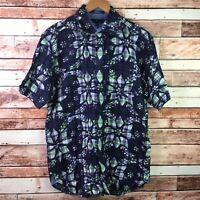 Tommy Hilfiger Mens Size M Medium Blue Floral Button Front Short Sleeve Shirt