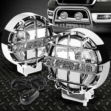 """6"""" ROUND CHROME HOUSING CLEAR FOG LIGHT/OFFROAD SUPER 4X4 GUARD WORK LAMP+SWITCH"""