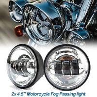 """Paar 4.5"""" LED Nebelscheinwerfer Zusatzscheinwerfer Tagfahrlicht für Harley Chrom"""