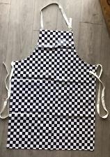 Chefs Black And White Chessboard Check Bib Apron PVC Adjustable Straps UK SELLER