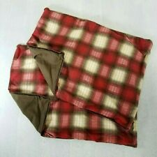 Eddie Bauer Home Pair of Red Brown Beige Woven Plaid Standard Pillow Shams