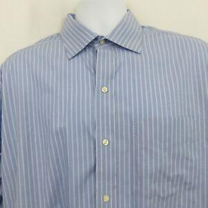 Tommy Hilfiger Blue White Stripe Shirt Mens L 16 1/2 LS Button 100% Cotton