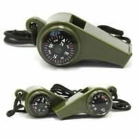 3in1 Hiking Outdoor Camping Emergency Survival Gear Whistle Compass Thermometer~