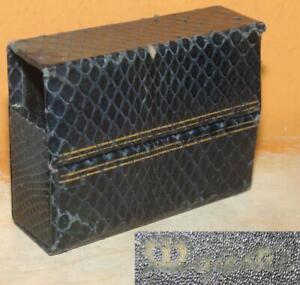 Majestic Leather Goods Cosmetic Case Genuine Snakeskin Blue w Gold lines Antique