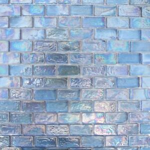 1x2 Periwinkle Blue Iridescent Brick Glass Mosaic For Wall and Pool Tile