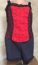 A WISH COME TRUE Black Red Rose THE GARDEN Costume DANCE Leotard BOOTY SHORTS 8+