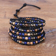 Jewelry Natural Stone Strand Chain 5 Wrap Bracelet Women Men Fashion Bangle Cuff