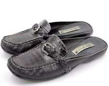 BRIGHTON ANDIE Women Mules Size 8 N Black Leather Snake Print Made in Italy
