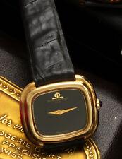 LADIES 18K GOLD BLACK DIAL BAUME & MERCIER WRISTWATCH W/BOX LUXURY DRESS