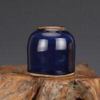 """3.6"""" Old Chinese qing Dynasty ge kiln Blue glaze Porcelain tea basin vase pot"""