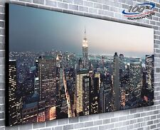 New York City Lights at Night Panoramic Canvas Print XXL 4.5 ft wide x 2 ft high