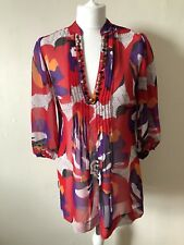Marks & Spencer Floral Jewelled Tunic Top Size 8 Beach Cover-up Summer