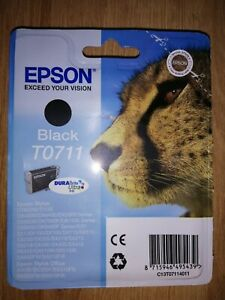 GENUINE EPSON T0711 TO711 Black cartridge NEW ORIGINAL OEM CHEETAH Printer ink