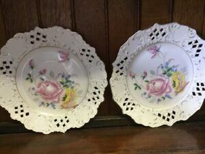2 Pink Rose Vintage Plates Reticulated Pierced Rims White Gold Germany Mark