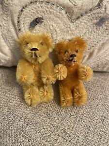Antique? Schuco? Lot 2 Mohair Teddy Bear Miniature 5-Jointed Golden Good Shape