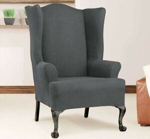 Stretch twill carbon gray wing chair new
