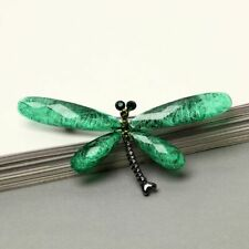 DRAGONFLY BROOCH, Green crystal Acrylic Retro Vintage  Perfect,  GIFT BOXED