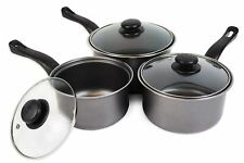 Set of 3 Non Stick Saucepans Cookware Cooking Pots Pan Set With Lids