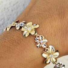 Solid 14k white yellow rose gold flower bracelet 7 inches long