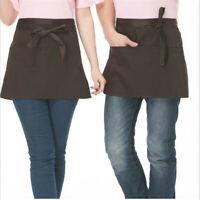 Unisex Half Short Waist Canvas Apron Kitchen Cafe Waitress Waiter With 3 Pockets
