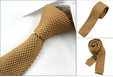 "Men 2"" Vintage Knitted Knit Slim Flat Tie Narrow Necktie Solid Brown Beige"