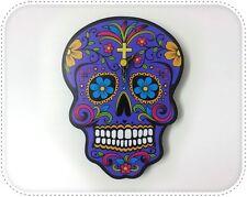Mini Purple Sugar Skull - ia de Los Muertos - Calavera - Wall Clock